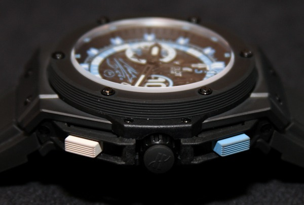 The Hublot Maradona Big Bang Chronograph is 44.5 mm in diameter, and is composed out of black ceramic, microblasted for texture. A sapphire crystal covered a black dial face, adorned with Argentine blue and white in luminescent on numerals. Maradona's jersey number, 10 in Mexcellent font is inscribed on a sub-dial around the 3 o'clock position, while an etched version of his signature is on the dial's 6 o'clock position. The watch features Hublot's HUB1146 chronograph movement with 55 jewels and 42 hours power reserve. The black ceramic case back has an image of Diego Maradona with his arms up in victory. A luxurious alligator band reinforced with rubber back and Argentine blue stitching further accentuate the timepiece. The Maradona Big Bang was a limited edition of only 250 units made, which all sold out very quickly during the FIFA World Cup 2010.